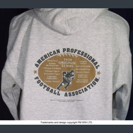 Muncie Flyers hoodie backside with league pigskin emblem