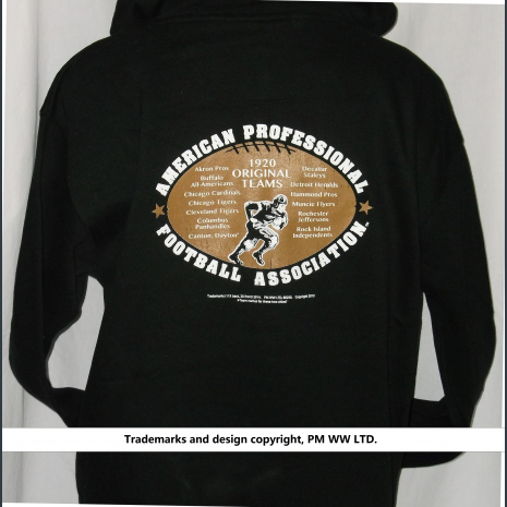 Hoodie backside: Pro Football year one 1920 league pigskin emblem