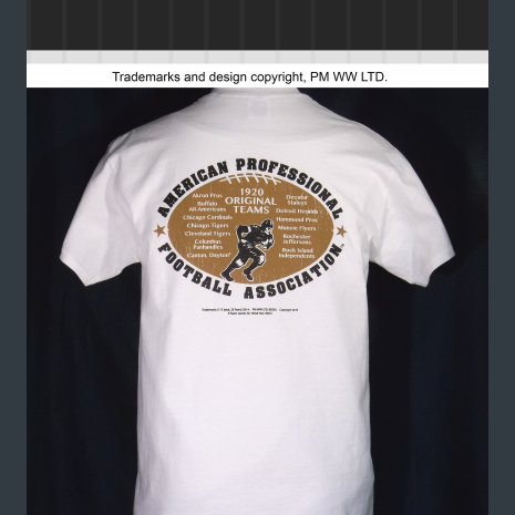 Backside: Rochester Jeffersons year one 1920 league pigskin emblem