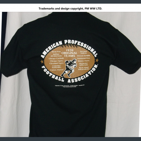 Backside: Pro Football year one 1920 league pigskin emblem