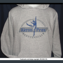 Akron Pros. Pro Football year one 1920 hoodie with hand warmer tunnel pocket.
