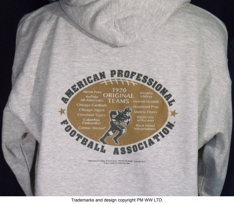 Muncie Flyers Pro Football year one 1920 hoodie with hand warmer pocket · Muncie  Flyers hoodie backside with league pigskin emblem d64b0f5f0