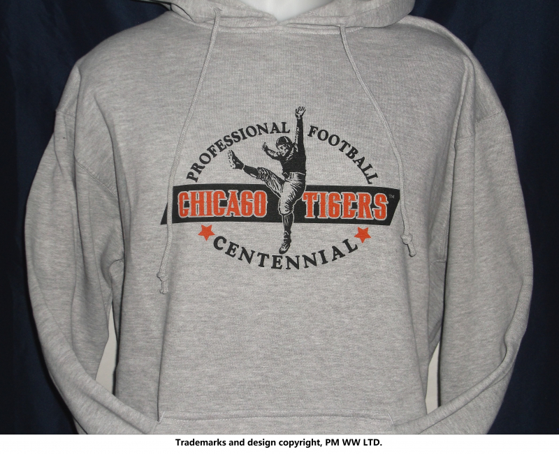Chicago TIgers Pro Football year one 1920 hoodie with hand warmer pocket ·  Chicago Tigers hoodie backside with league pigskin emblem e869fecbf