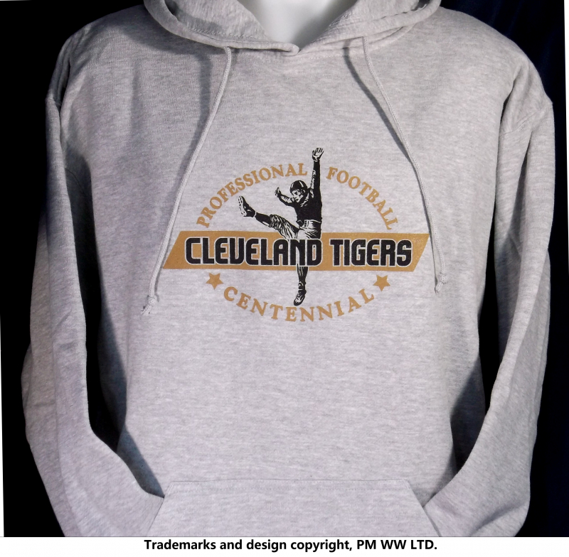 Cleveland Tigers Pro Football year one 1920 hoodie with hand warmer pocket  · Cleveland Tigers hoodie backside with league pigskin emblem f3935a8ce