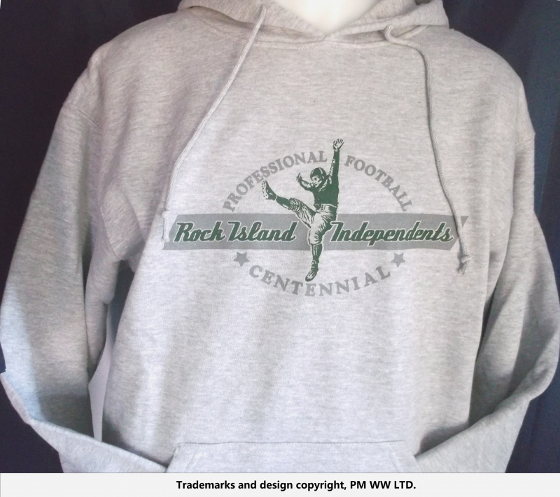 Rock Island Independents pro football year one hoodie   hand warmer pocket  · Rock Island Independents hoodie backside with league pigskin emblem 2e51d0e3d