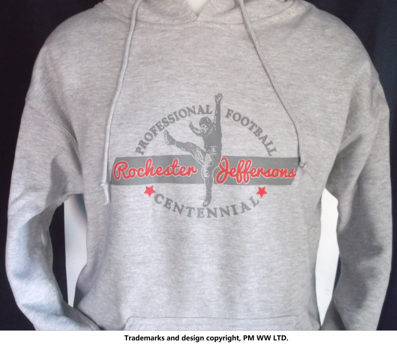 Rochester Jeffersons Pro Football year one 1920 hoodie with hand warmer  pocket · Rochester Jeffersons hoodie backside with league pigskin emblem b5ad13c56